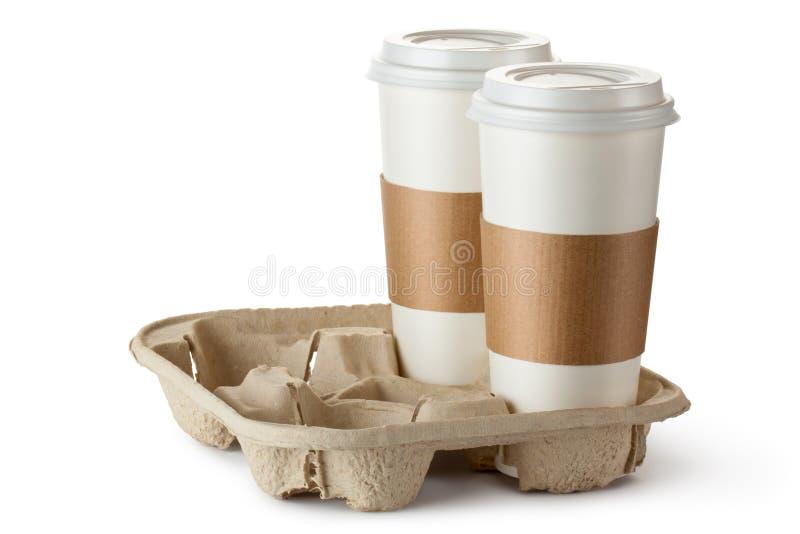 Kaffe för två take-ut i hållare