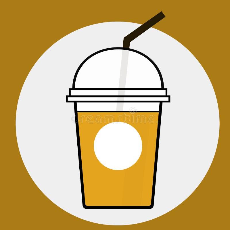 Kaffe förkylning, tecknade filmen, koppen, illustrationen, is, sugrör, drycken, kakao som är söt, dricker, lagar mat med grädde,  royaltyfri illustrationer