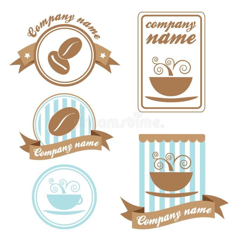 kaffe fem inställda logoer vektor illustrationer