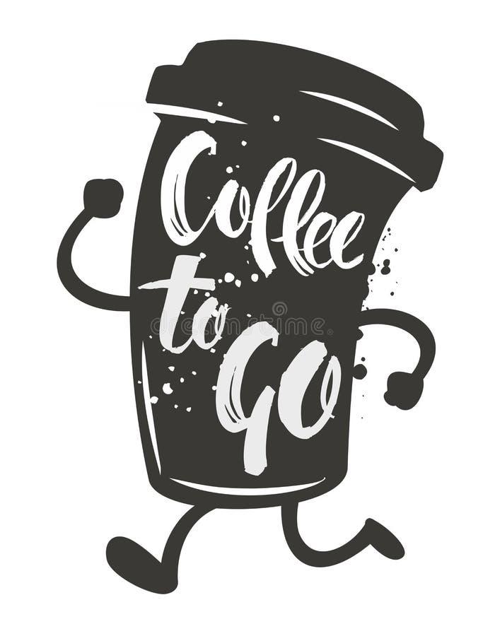kaffe går till royaltyfri illustrationer