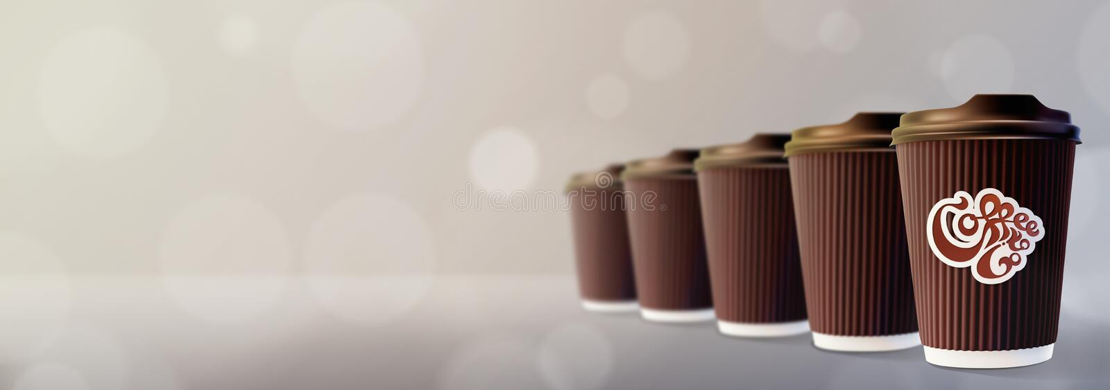kaffe går till Kaffekrusningen kuper Bokeh Gray Background arkivbilder