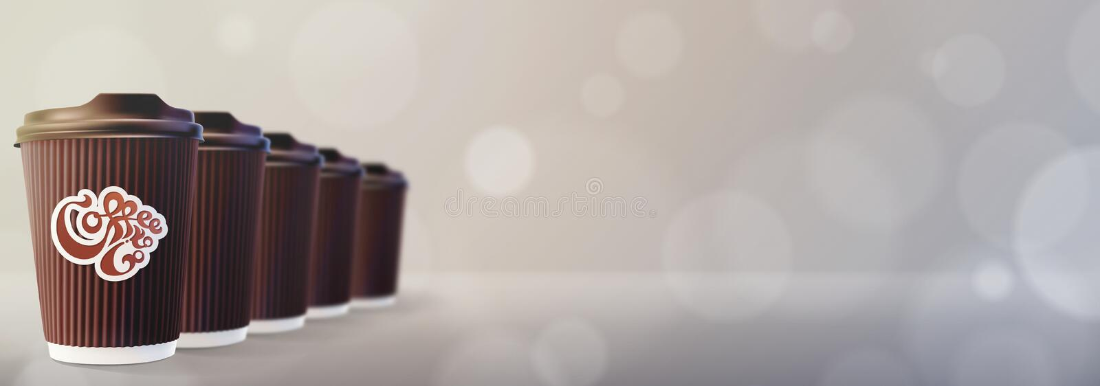 kaffe går till Kaffekrusningen kuper Bokeh Gray Background royaltyfria bilder