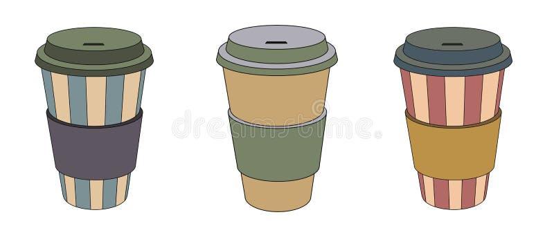 kaffe går till vektor illustrationer