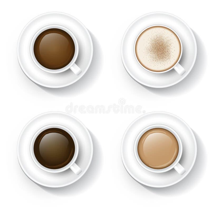 Kaffe i kopp stock illustrationer