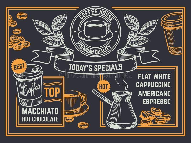 kaffe isolerad menywhite Dragen coffeeshopreklamblad för tappning hand Vektoraffisch för cappuccino och för varm choklad stock illustrationer