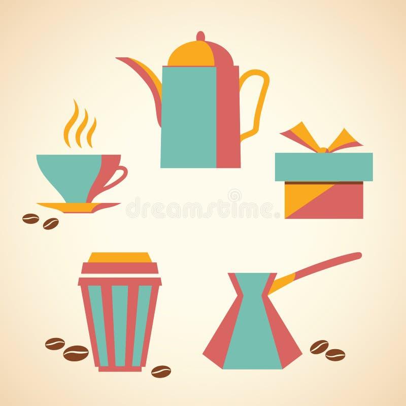 kaffe isolerad set white royaltyfri illustrationer
