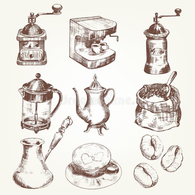 kaffe isolerad set white stock illustrationer