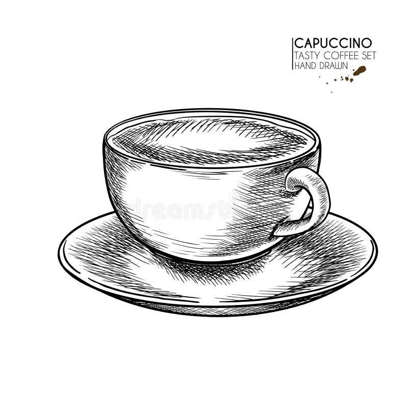 kaffe isolerad set white Hand dragen kaffekopp R?na av cappuccino, eller sent med mj?lka skum Vektor inristad symbol Ny drink f?r royaltyfri illustrationer