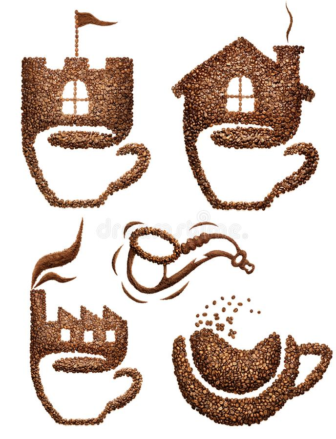 kaffe isolerad set white arkivfoto