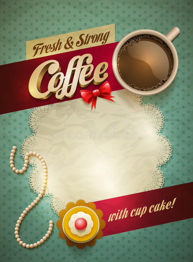 Kaffe- & kakaaffisch stock illustrationer