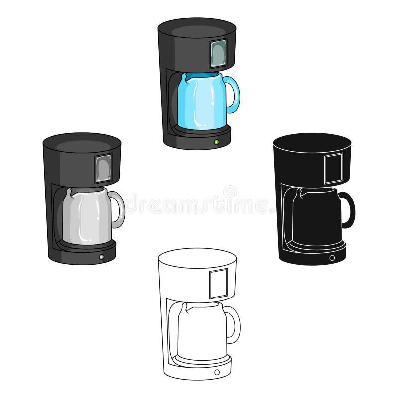 Kaffe kopp, enkel symbol i tecknade filmen, svart stil Kaffe kopp, rengöringsduk för illustration för vektorsymbolmateriel royaltyfri illustrationer