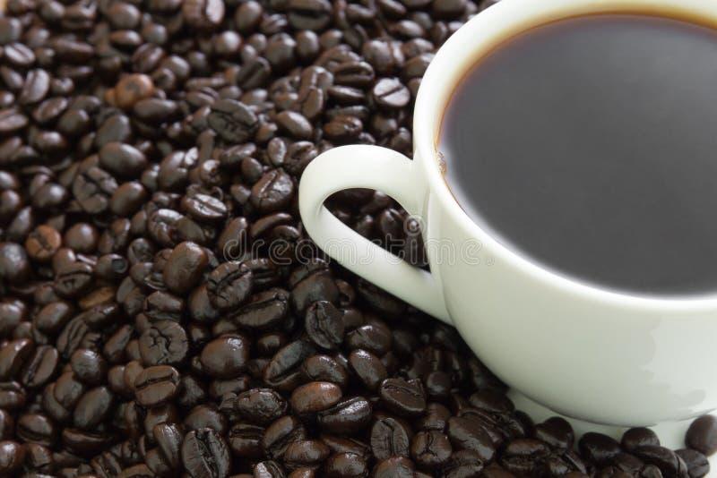 Kaffe kuper med bönor arkivfoton