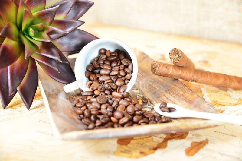 Kaffe kuper med b?nor royaltyfri fotografi