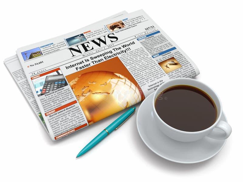 Kaffe kuper med tidningen vektor illustrationer