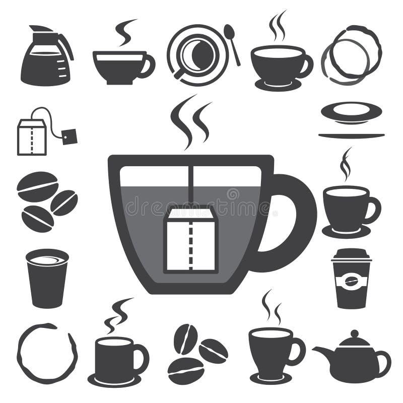 Kaffe kuper, och Tea kuper symbolsuppsättningen. Illustration vektor illustrationer