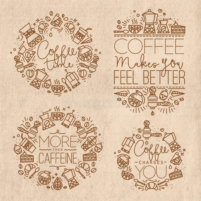 Kaffe märker kraft royaltyfri illustrationer