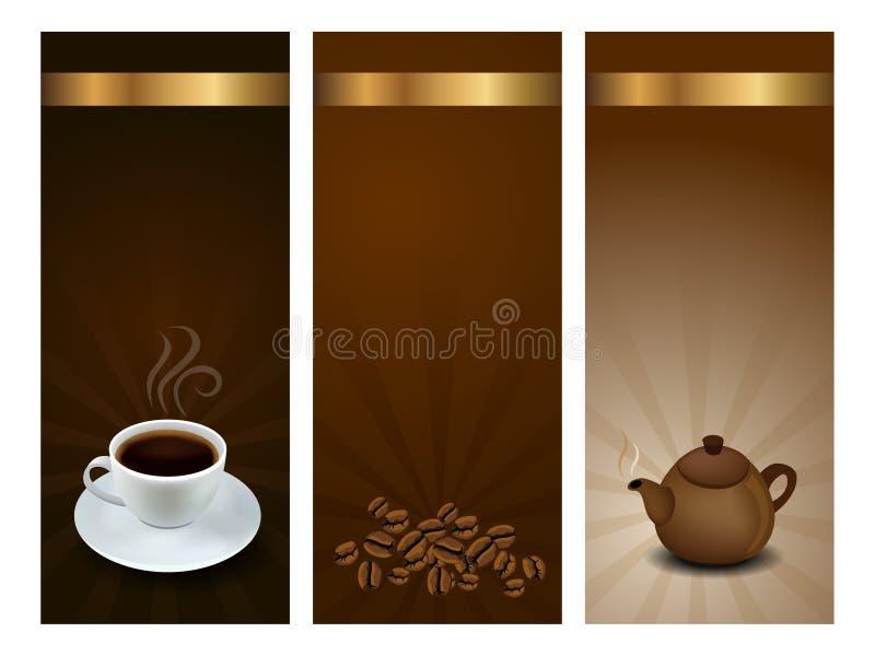 kaffe märker tea royaltyfri illustrationer