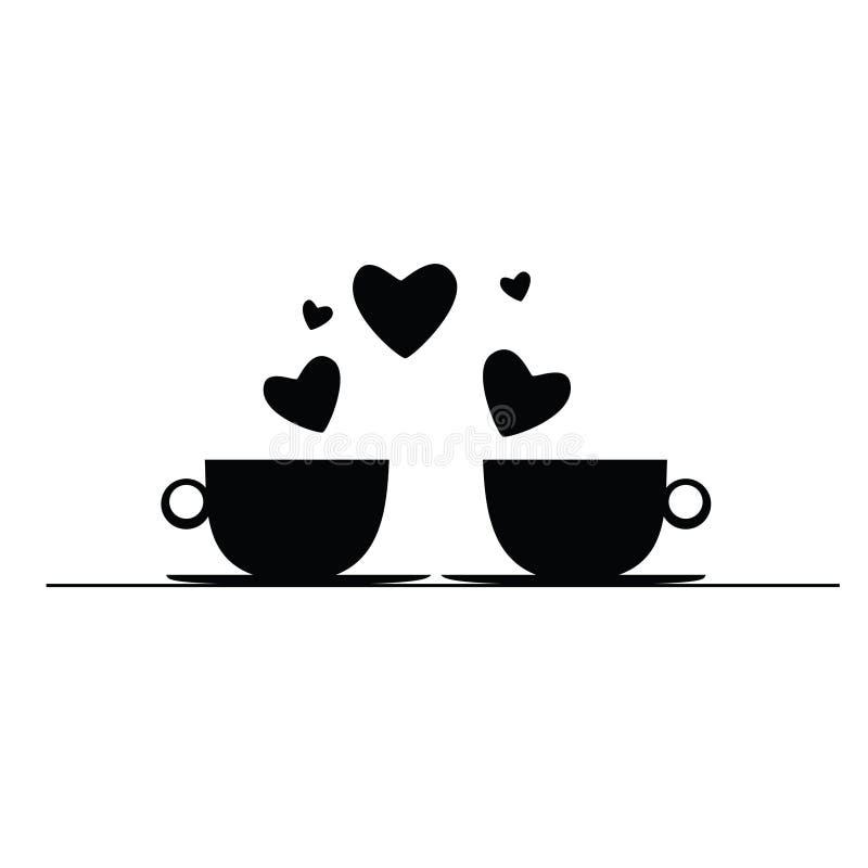 Kaffe med den svarta vektorkonturn för hjärtor royaltyfri illustrationer