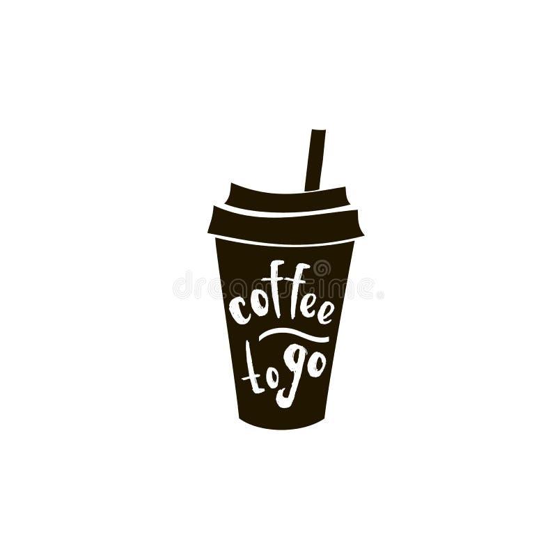 Kaffe med en logo för vektorteckningssymbol av en kalligrafi för svart för svart tavla för restaurang för kafé för kaffehuscappuc royaltyfri illustrationer