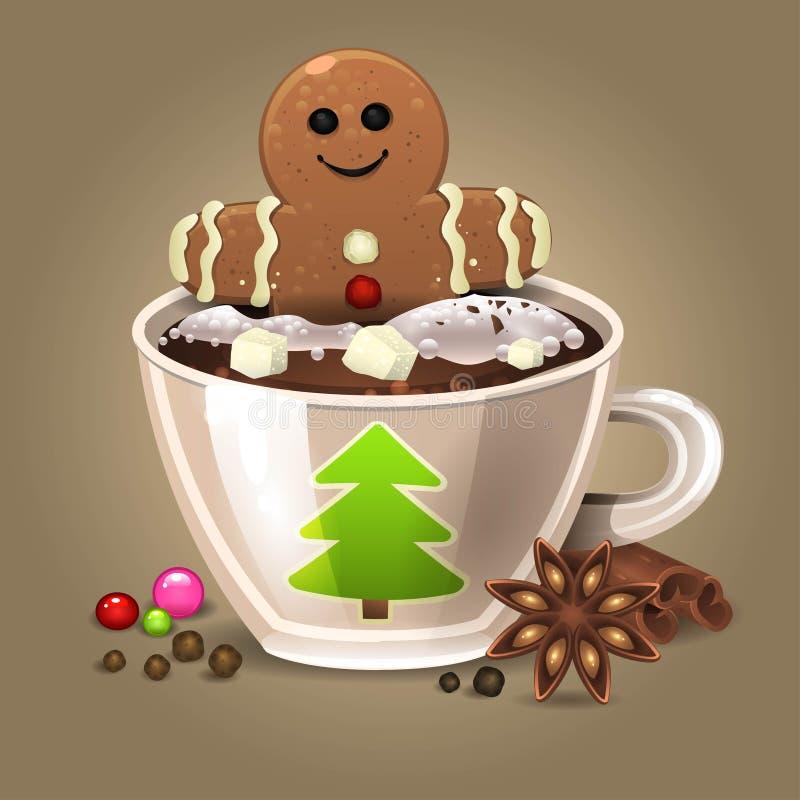Kaffe med tårtan stock illustrationer