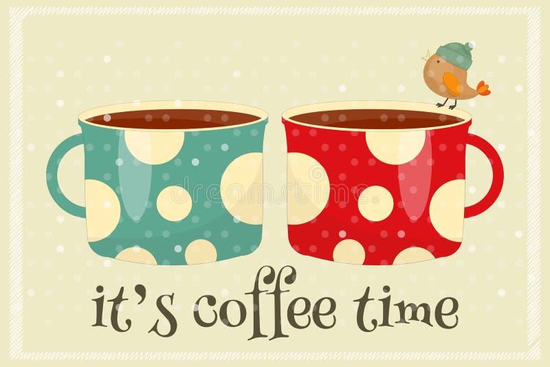 kaffe mer tid stock illustrationer