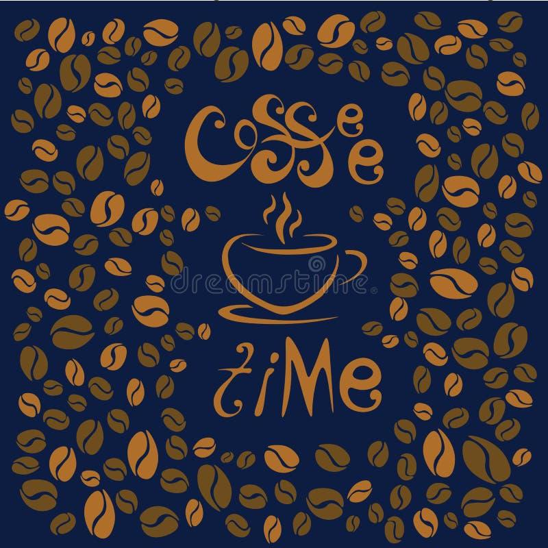 kaffe mer tid bokstäver på blå bakgrund Kaffe kuper symboliskt vektor illustrationer