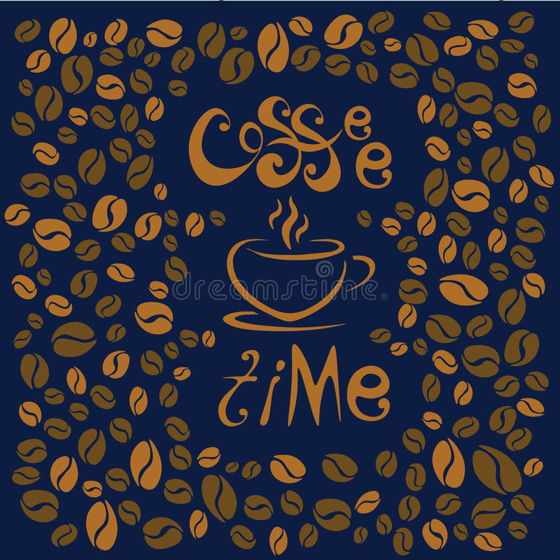 kaffe mer tid bokstäver på blå bakgrund Kaffe kuper symboliskt royaltyfri illustrationer