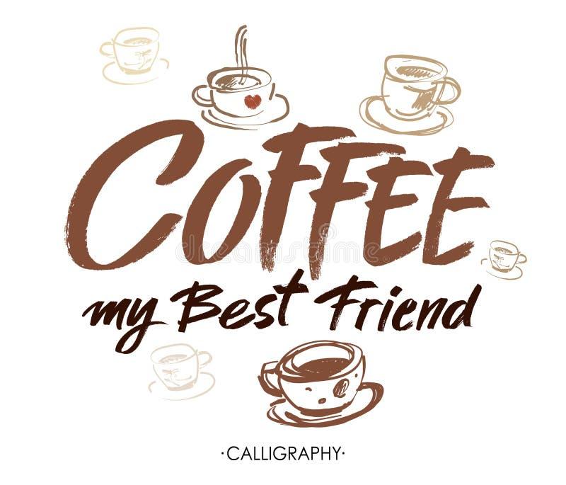 Kaffe min bästa vän Modern borstekalligrafi Handskriven färgpulverbokstäver design tecknad elementhand stock illustrationer