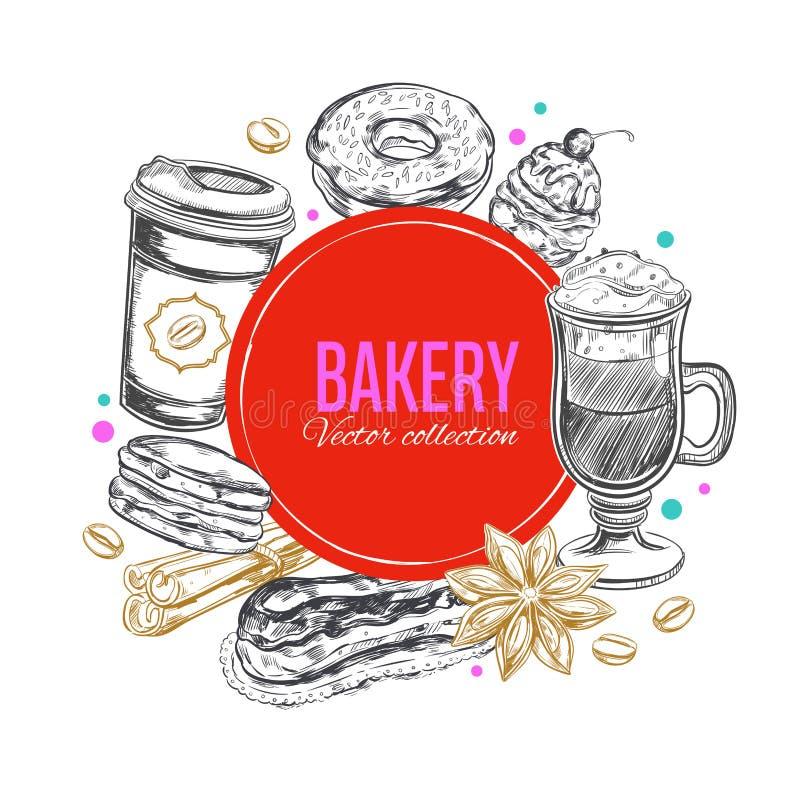 Kaffe- och bagerietikett 2 stock illustrationer
