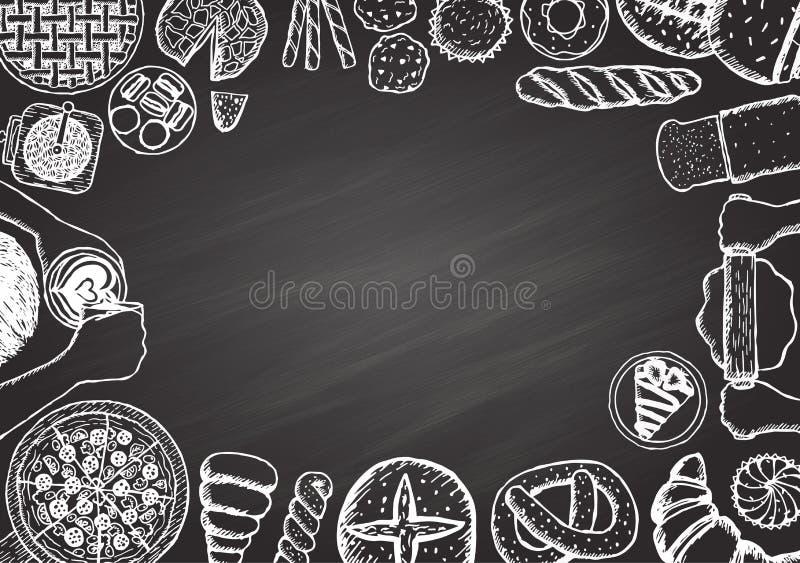 Kaffe- och bagerimeny vektor illustrationer