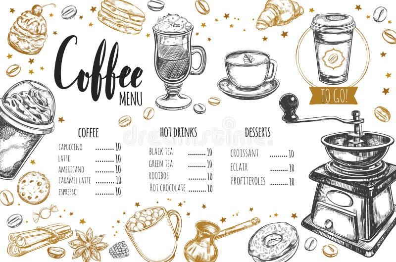 Kaffe- och bagerirestaurangmeny 3 royaltyfri illustrationer