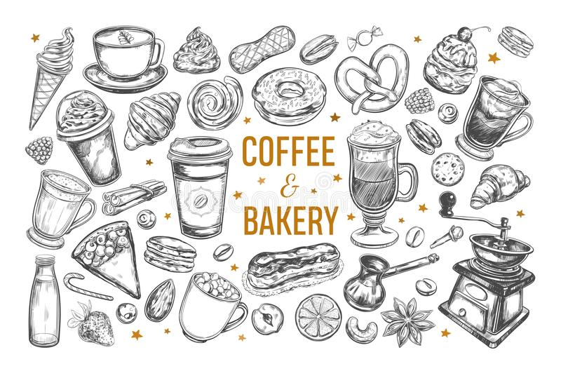Kaffe- och bageriuppsättning stock illustrationer