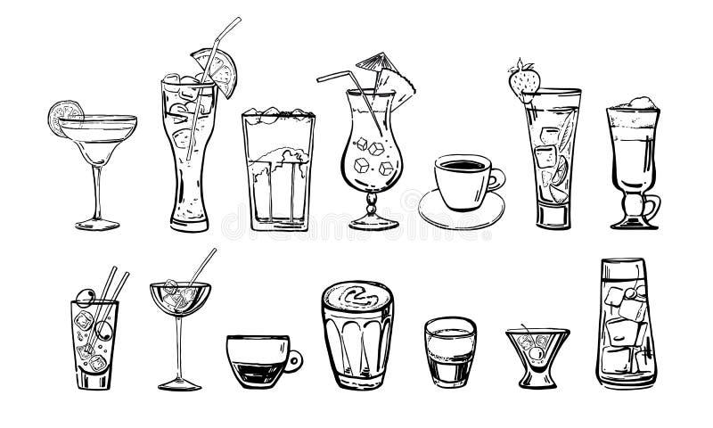 Kaffe- och coctaildrinkuppsättning Skissar den utdragna översiktstecknade filmen för handen stock illustrationer