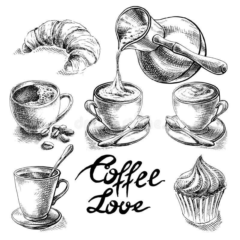 Kaffe- och efterrättuppsättning stock illustrationer