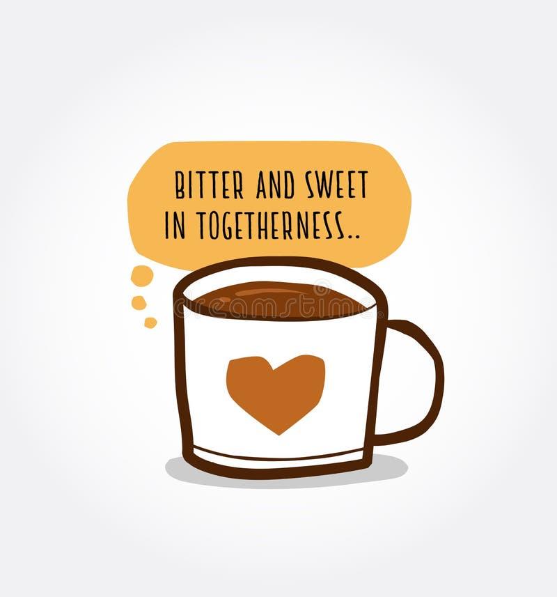 Kaffe och förälskelse vektor illustrationer