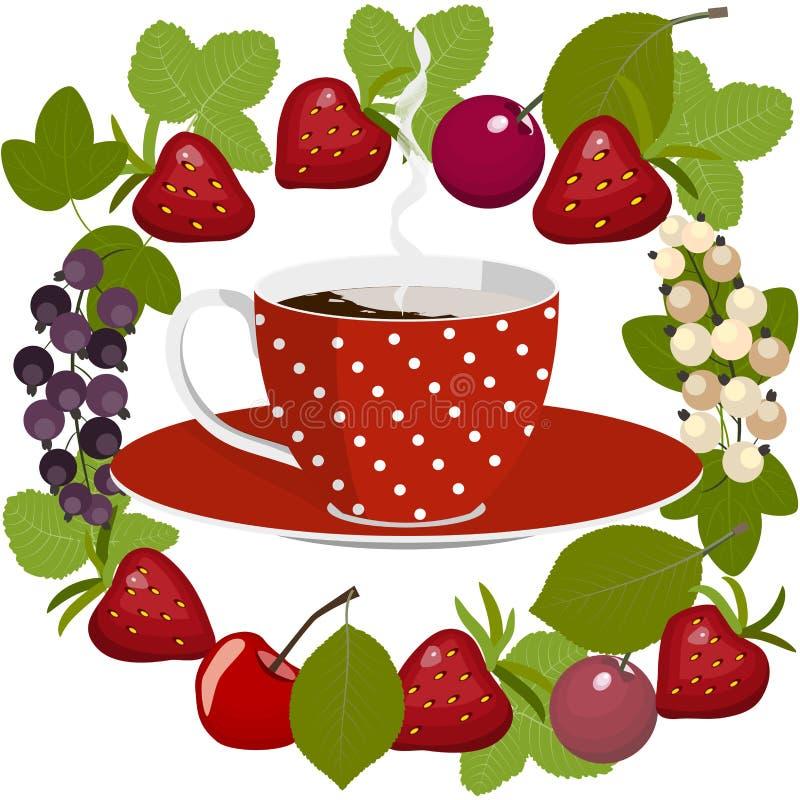 Kaffe och frukt stock illustrationer