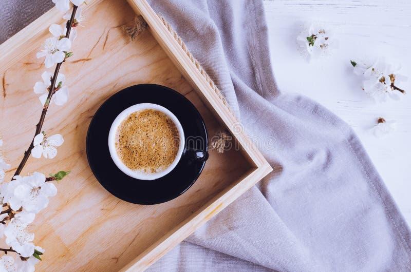 Kaffe och körsbärsröd blomning royaltyfri bild