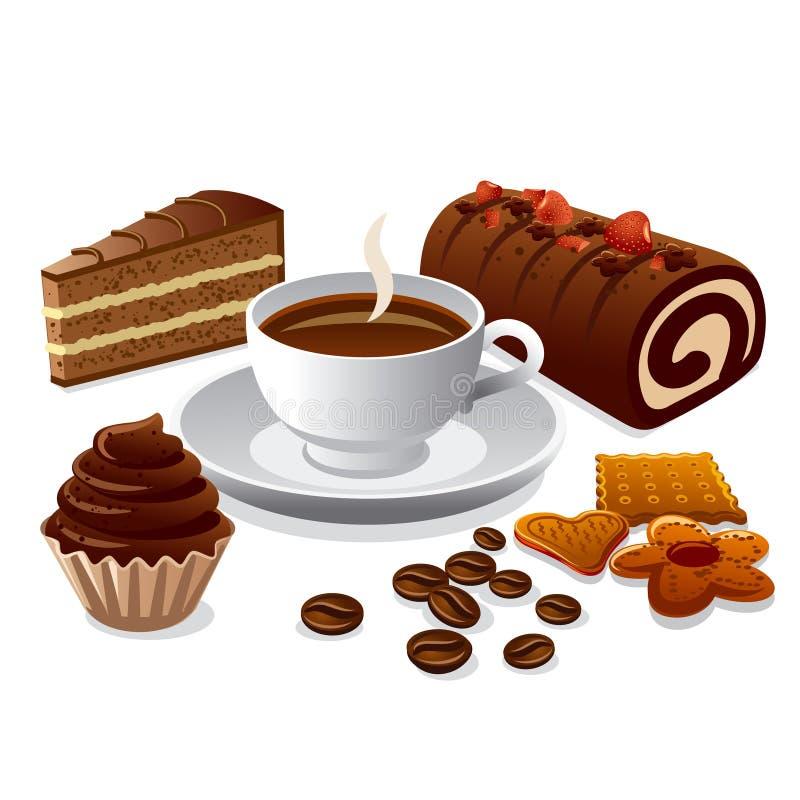 Kaffe och kakor royaltyfri illustrationer