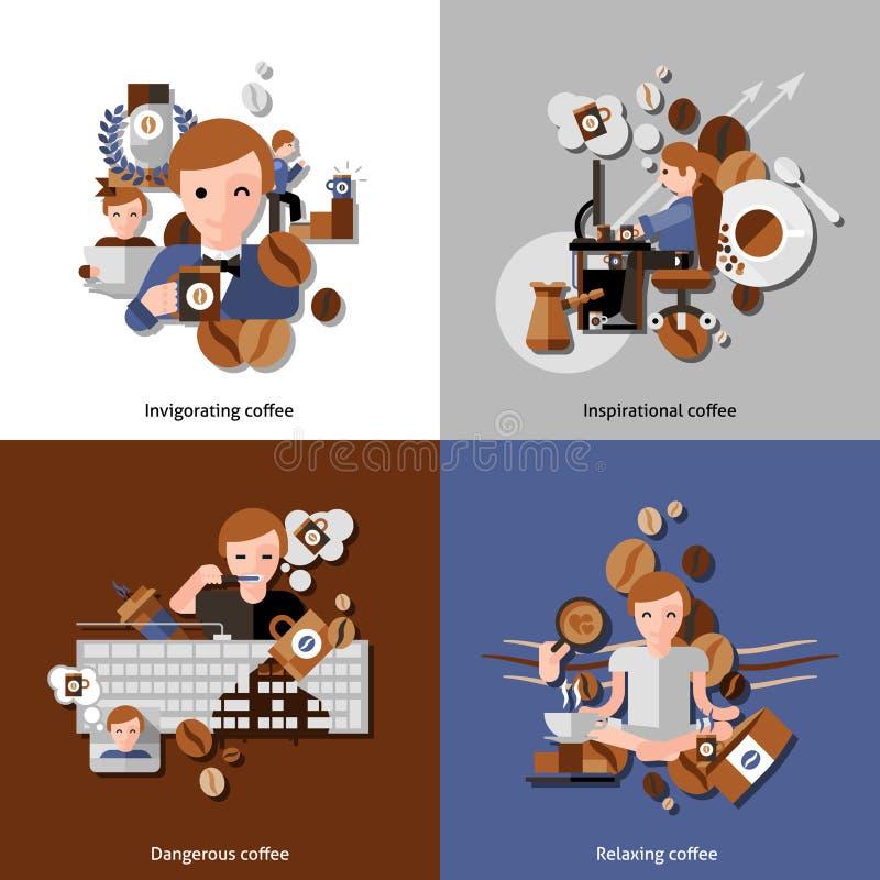 Kaffe och kopplar av symbolsuppsättningen stock illustrationer