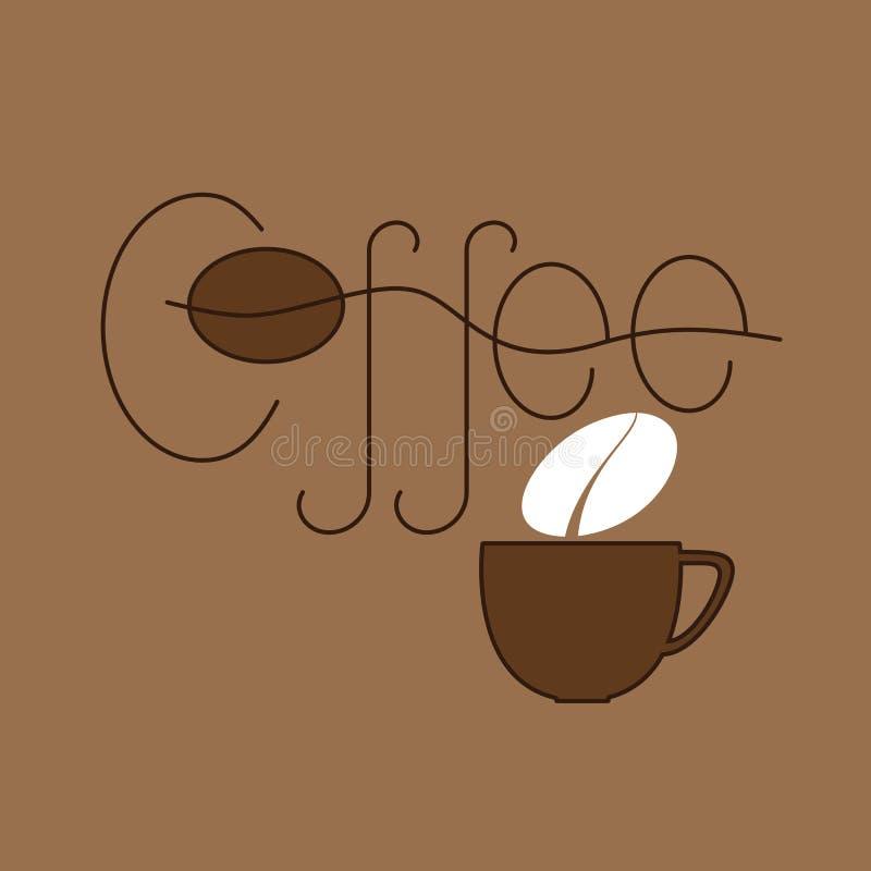 Kaffe- och kopplogomall vektor illustrationer