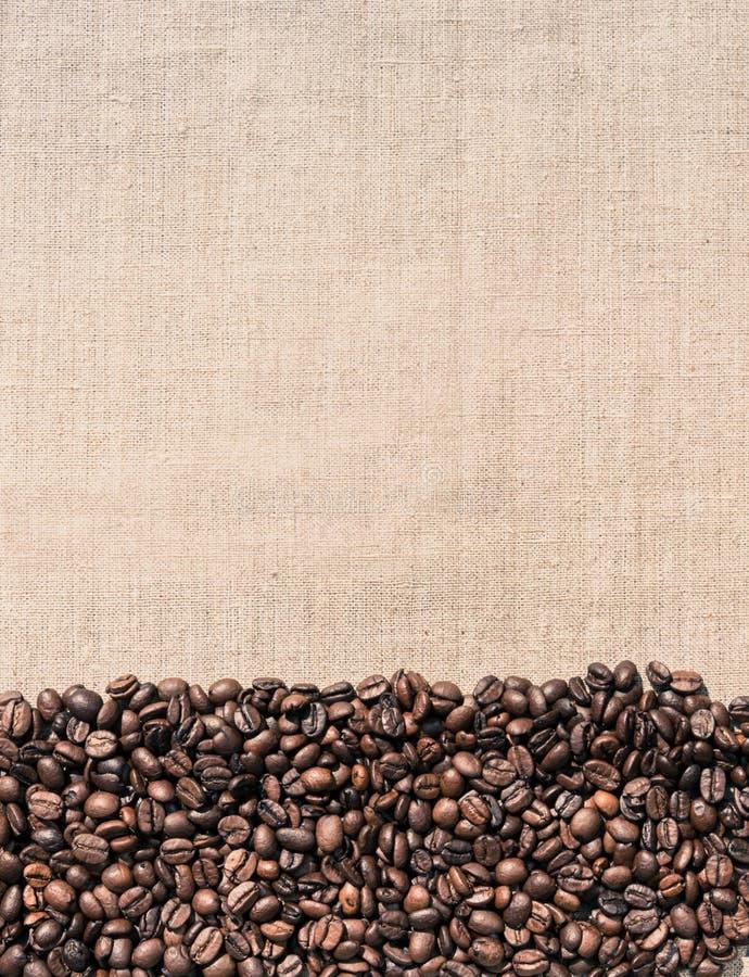 Kaffe- och linnetorkduk Bakgrund för menyn i kafét arkivfoto
