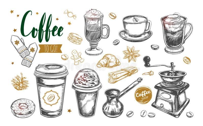 Kaffe och kaffe som går uppsättning royaltyfri illustrationer