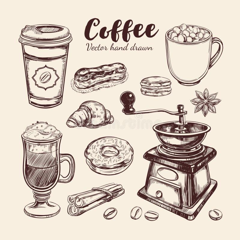 Kaffe och kaffe som går uppsättning vektor illustrationer