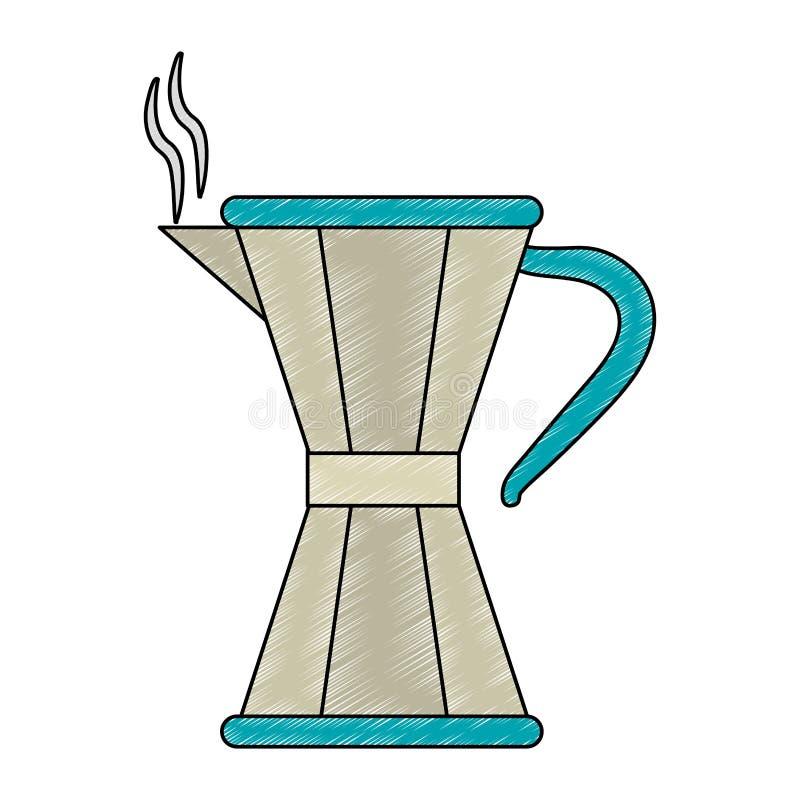 Kaffe- och tekokkärlet klottrar royaltyfri illustrationer