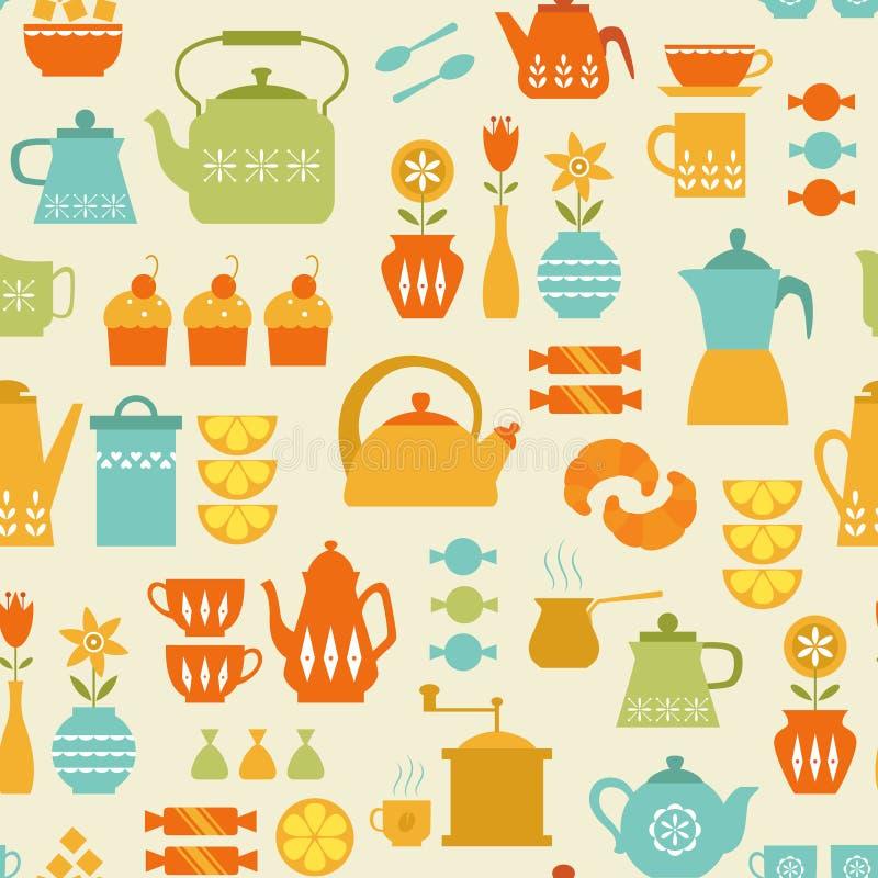 Kaffe- och temodell royaltyfri illustrationer