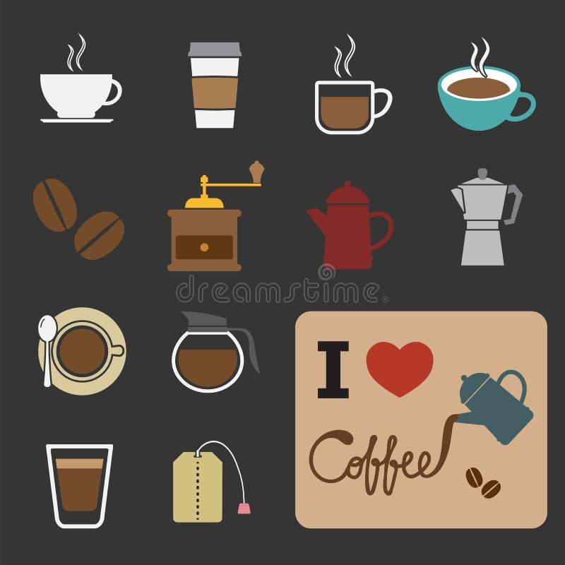 Kaffe- och tesymbol stock illustrationer