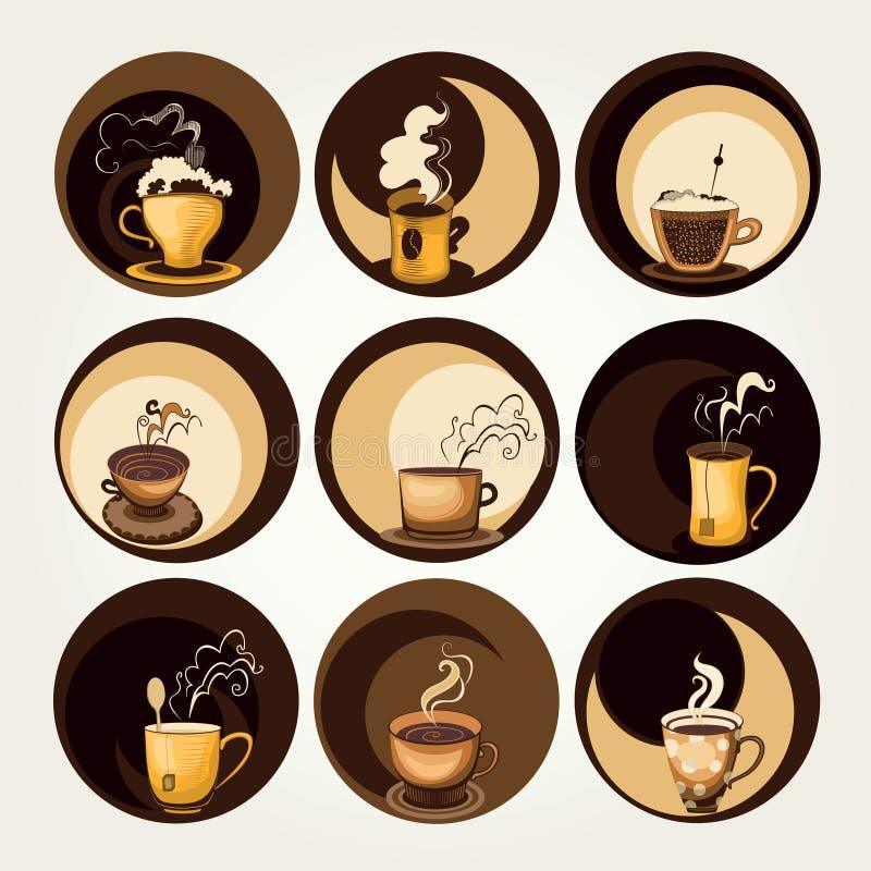 Kaffe- och tesymboler vektor illustrationer