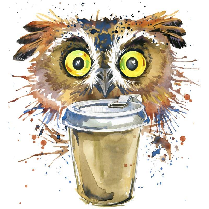 Kaffe- och ugglaT-tröjadiagram kaffe- och ugglaillustrationen med färgstänkvattenfärgen texturerade bakgrund ovanlig illustration vektor illustrationer