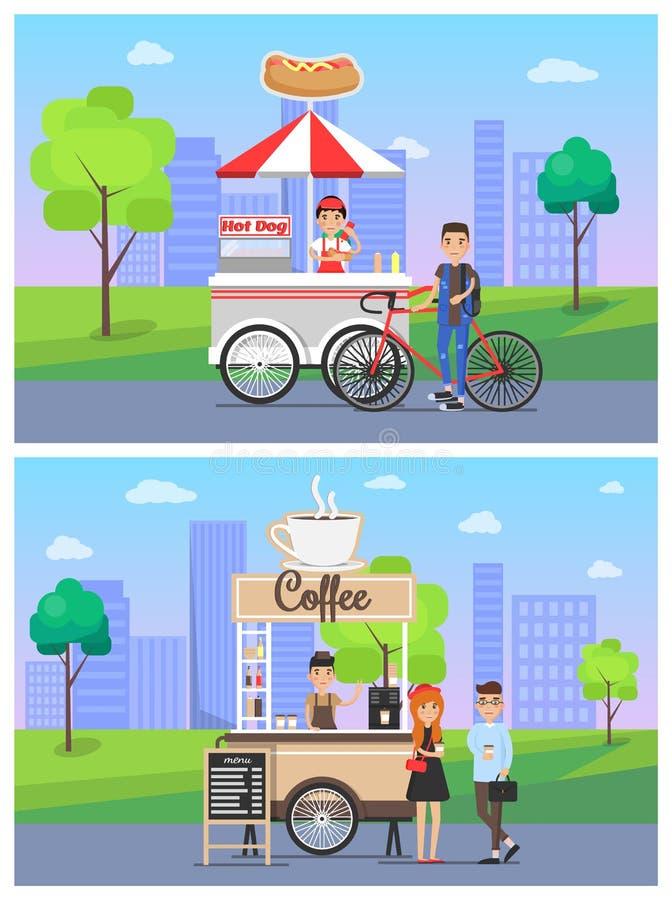 Kaffe och varmkorven shoppar den fastställda vektorillustrationen royaltyfri illustrationer