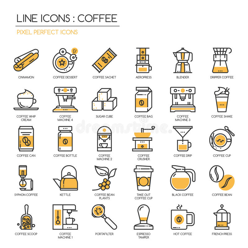 Kaffe perfekt symbol för PIXEL royaltyfri illustrationer